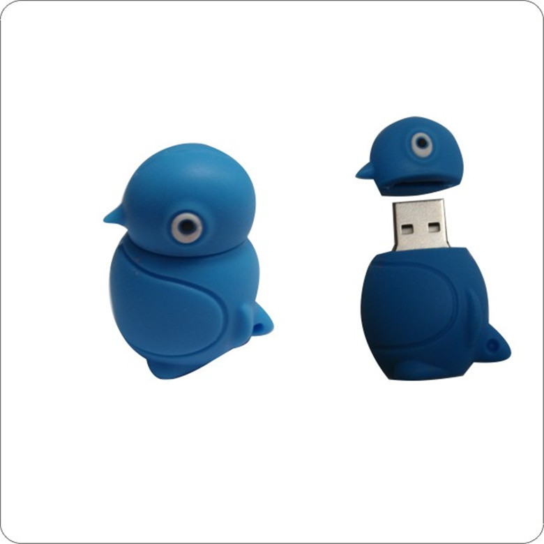 Custom logo 8gb cartoon DUCK pvc usb flash drive, logo shape cartoon usb 2.0 8gb usb flash drive, usb flash drive